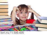 Девочка с книгами. Стоковое фото, фотограф Олег Юрмашев / Фотобанк Лори