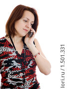Купить «Девушка разговаривает по мобильному телефону», фото № 1501331, снято 9 января 2010 г. (c) Сергей Дубров / Фотобанк Лори