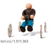 Купить «Пластилиновый человечек на воображаемом автомобиле с колёсами-монетами на белом фоне», фото № 1511363, снято 6 февраля 2010 г. (c) Павел Ермашкевич / Фотобанк Лори