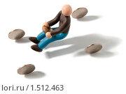 Купить «Пластилиновый человечек на воображаемом автомобиле с колёсами-монетами на белом фоне», фото № 1512463, снято 6 февраля 2010 г. (c) Павел Ермашкевич / Фотобанк Лори