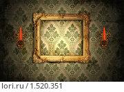 Деревянная рамка и золотые подсвечники на стене. Стоковая иллюстрация, иллюстратор Stanislav Kharchevskyi / Фотобанк Лори