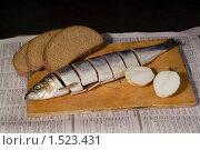 Купить «Натюрморт с разрезанной рыбой», фото № 1523431, снято 26 февраля 2010 г. (c) Владимир Фаевцов / Фотобанк Лори