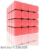 Купить «Куб из блоков с текстурой карты мира в красных тонах», иллюстрация № 1536035 (c) Alperium / Фотобанк Лори
