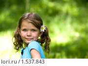 Купить «Девочка с ромашкой в волосах», фото № 1537843, снято 17 июля 2009 г. (c) Юлия Шилова / Фотобанк Лори