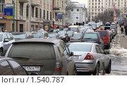 Купить «Москва. Пробка на Новой Басманной улице», фото № 1540787, снято 10 марта 2010 г. (c) Ярослав Каминский / Фотобанк Лори