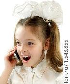 Девочка говорит по мобильному телефону. Стоковое фото, фотограф Алешечкина Елена / Фотобанк Лори