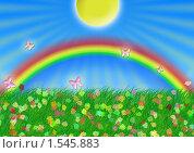 Солнце и радуга. Стоковая иллюстрация, иллюстратор Екатерина Новикова / Фотобанк Лори
