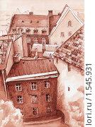 Городок. Вид сверху. Акварель, тушь. Стоковая иллюстрация, иллюстратор Yana Geruk / Фотобанк Лори