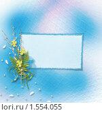 Пригласительная карточка, декорированная цветами и веточками вербы. Стоковая иллюстрация, иллюстратор Lora Liu / Фотобанк Лори