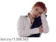 Купить «Девушка в студии с клавиатурой», фото № 1558563, снято 13 декабря 2009 г. (c) Наталья Белотелова / Фотобанк Лори