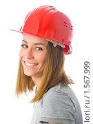 Девушка в красной защитной каске. Стоковое фото, фотограф Игорь Губарев / Фотобанк Лори