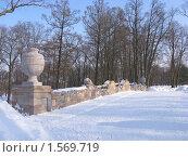 Купить «Руинный мостик в зимнем парке Александрия», фото № 1569719, снято 7 марта 2010 г. (c) Валентина Троль / Фотобанк Лори
