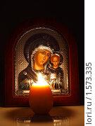 Купить «Икона казанской Божьей матери с младенцем», фото № 1573335, снято 5 декабря 2019 г. (c) Сергей Колесников / Фотобанк Лори