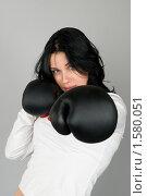 Купить «Девушка в боксерских перчатках», фото № 1580051, снято 3 марта 2010 г. (c) Okssi / Фотобанк Лори