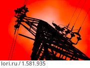 Купить «Опора линии электропередачи на красном фоне», фото № 1581935, снято 29 июля 2006 г. (c) megastocker / Фотобанк Лори