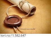 Купить «Сургучная печать на документе», фото № 1582647, снято 18 марта 2010 г. (c) Роман Сигаев / Фотобанк Лори