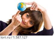 Девушка с маленьким глобусом в руках. Стоковое фото, фотограф Игорь Губарев / Фотобанк Лори