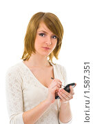 Портрет молодой женщины с карманным компьютером. Стоковое фото, фотограф Игорь Губарев / Фотобанк Лори