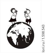 Мальчик и девочка на земном шаре фотографируют друг друга. Растровая версия векторной иллюстрации. Стоковая иллюстрация, иллюстратор Олыкайнен Наталья / Фотобанк Лори