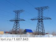 Купить «Заводоуковск. Дом между двумя опорами ЛЭП», фото № 1607843, снято 21 марта 2010 г. (c) Александр Тараканов / Фотобанк Лори