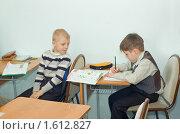 Купить «Мальчики на уроке», фото № 1612827, снято 2 марта 2010 г. (c) Типляшина Евгения / Фотобанк Лори