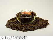 Свеча и кофейные зерна. Стоковое фото, фотограф Инна Шишова / Фотобанк Лори