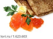 Купить «Русские блины с маслом, красной  икрой и семгой», фото № 1623603, снято 7 августа 2009 г. (c) ElenArt / Фотобанк Лори