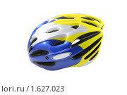 Купить «Велосипедный шлем на белом фоне», фото № 1627023, снято 12 апреля 2010 г. (c) Наталья Волкова / Фотобанк Лори