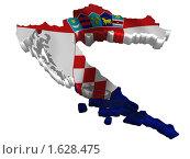 Купить «Хорватия: карта страна флаг», иллюстрация № 1628475 (c) Савельев Андрей / Фотобанк Лори