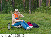 Купить «Сидящая девушка», фото № 1638431, снято 16 августа 2009 г. (c) Александр Рябов / Фотобанк Лори