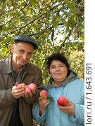 Купить «Пожилая пара с яблоками в руках», фото № 1643691, снято 10 октября 2009 г. (c) Losevsky Pavel / Фотобанк Лори