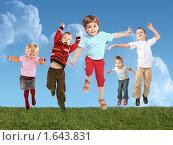 Купить «Веселые дети прыгают на траве, коллаж», фото № 1643831, снято 20 августа 2005 г. (c) Losevsky Pavel / Фотобанк Лори
