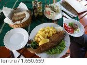 Купить «Накрытый обеденный стол с жареной рыбой», фото № 1650659, снято 19 августа 2009 г. (c) Купченко Владимир Михайлович / Фотобанк Лори