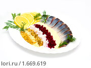 Купить «Соленая селедка с овощами», фото № 1669619, снято 3 декабря 2009 г. (c) Анна Игонина / Фотобанк Лори
