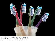 Купить «Зубные щетки для ухода за зубами, изолированные на черном фоне», фото № 1678427, снято 23 апреля 2010 г. (c) Илья Андриянов / Фотобанк Лори