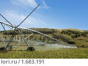 Купить «Оросительная система поливает поле», фото № 1683191, снято 4 апреля 2010 г. (c) NataMint / Фотобанк Лори