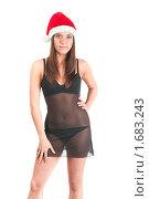 Купить «Молодая девушка в шапке Санта-Клауса», фото № 1683243, снято 19 декабря 2009 г. (c) Кекяляйнен Андрей / Фотобанк Лори