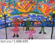 Купить «Детский рисунок, посвященный 9 мая», эксклюзивное фото № 1688695, снято 9 мая 2010 г. (c) FotograFF / Фотобанк Лори