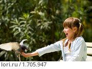 Купить «Девочка кормит голубя», фото № 1705947, снято 11 мая 2010 г. (c) Ольга Сапегина / Фотобанк Лори