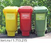 Купить «Разноцветный  контейнеры  для  мусора  крупным  планом», фото № 1713215, снято 19 мая 2010 г. (c) Юлия  Лесина / Фотобанк Лори