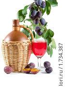 Купить «Сливы и вино», фото № 1734387, снято 7 сентября 2008 г. (c) Елена Блохина / Фотобанк Лори
