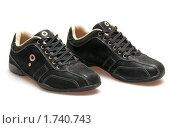 Купить «Черные мужские кожаные туфли, изолированно на белом», фото № 1740743, снято 23 февраля 2010 г. (c) Максим Лоскутников / Фотобанк Лори