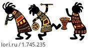 Купить «Танцующие музыканты. Этнический африканский рисунок», иллюстрация № 1745235 (c) Лукиянова Наталья / Фотобанк Лори