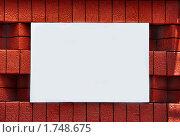 Купить «Чистый прямоугольник на красной кирпичной стене», фото № 1748675, снято 29 мая 2010 г. (c) Константин Бредников / Фотобанк Лори
