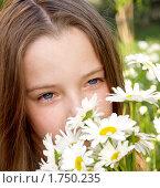 Девочка с ромашками. Стоковое фото, фотограф Алешечкина Елена / Фотобанк Лори