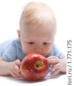 Купить «Ребенок с яблоком», фото № 1771175, снято 21 февраля 2010 г. (c) Валуйкин Сергей / Фотобанк Лори