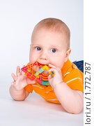 Купить «Младенец и игрушка», эксклюзивное фото № 1772787, снято 20 мая 2010 г. (c) Куликова Вероника / Фотобанк Лори