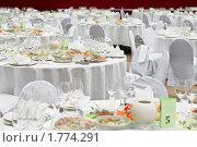Купить «Белые банкетные столы в ресторане», фото № 1774291, снято 28 декабря 2009 г. (c) Кекяляйнен Андрей / Фотобанк Лори