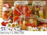 Купить «Домашнее консервирование: овощи в стеклянных банках», эксклюзивное фото № 1784739, снято 8 июня 2010 г. (c) Давид Мзареулян / Фотобанк Лори