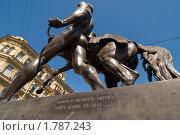"""Купить «""""Укротитель коня"""" скульптора Петра Клодта. Санкт-Петербург», эксклюзивное фото № 1787243, снято 4 июня 2010 г. (c) Александр Алексеев / Фотобанк Лори"""